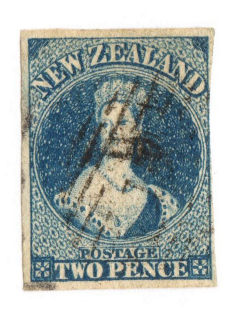 NEW ZEALAND 1855 Full Face Queen 2d Deep Blue. Watermark Large Star. Three clear margins. Frame line touched on the right. - 751 image 0