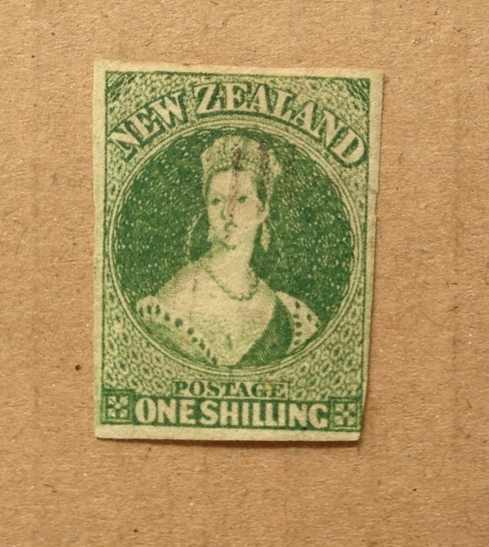 NEW ZEALAND 1855 Full Face Queen 1/- Green. Imperf. 4 large margins except touching at lower right. Very light cancel. - 75056 - image 0