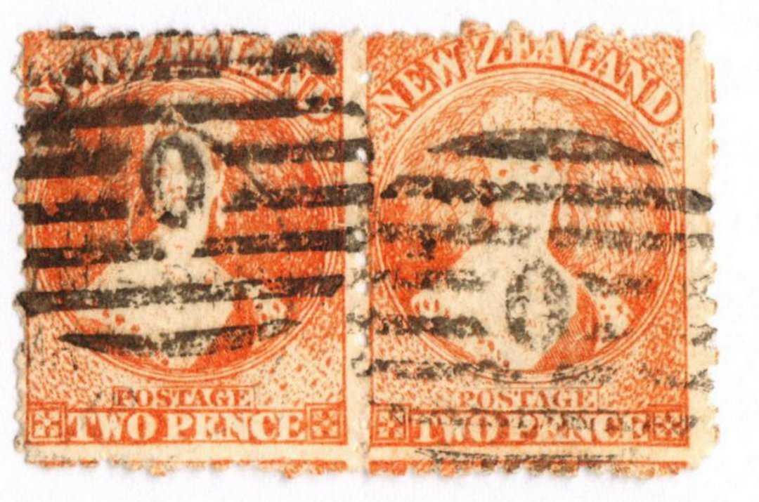 NEW ZEALAND 1862 Full Face Queen 2d Vermilion. Perf 12½. Watermark Large Star. Joined pair. Row 17/8 and 17/9. Postmark heavy. - image 0