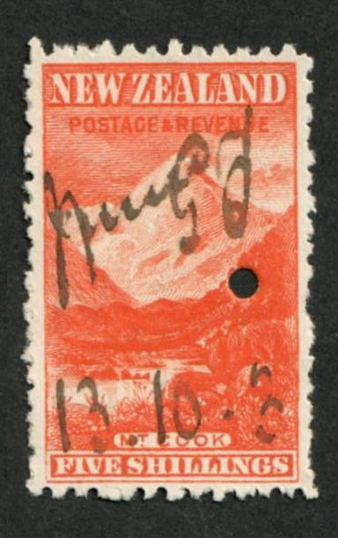 NEW ZEALAND 1898 Pictorial 5/- Red on Cowan paper. Watermark Sideways. Fiscally used. - 39221 - Fiscal image 0