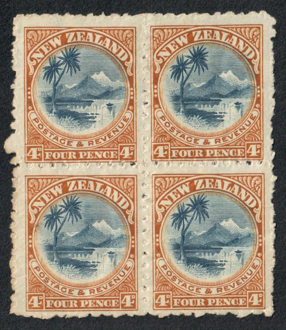 NEW ZEALAND 1898 Pictorial 4d Lake Taupo. No watermark. Perf 11. Block of 4. Two hinged. - 53948 - Mixed image 0