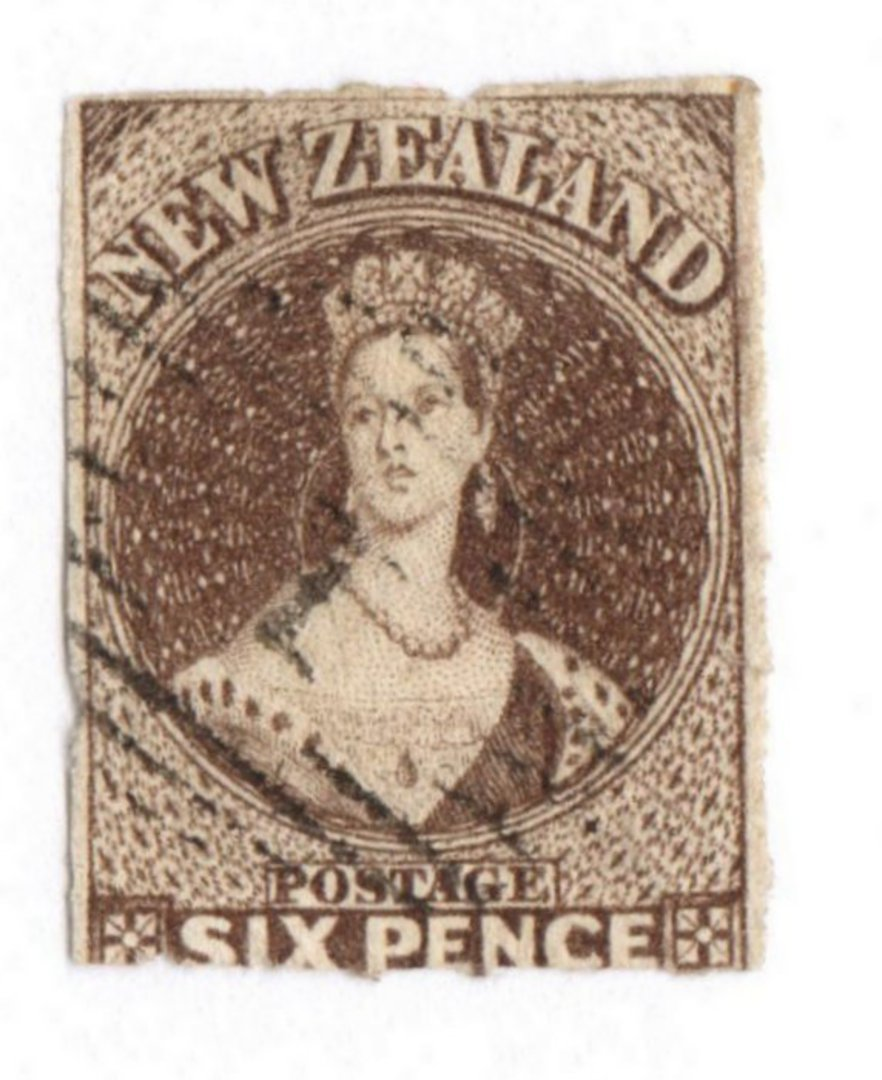 NEW ZEALAND 1862 Full Face Queen 6d Black-Brown Imperf.Watermark Large Star. Four margins. Bars cancel detracts. - 79219 - Used image 0