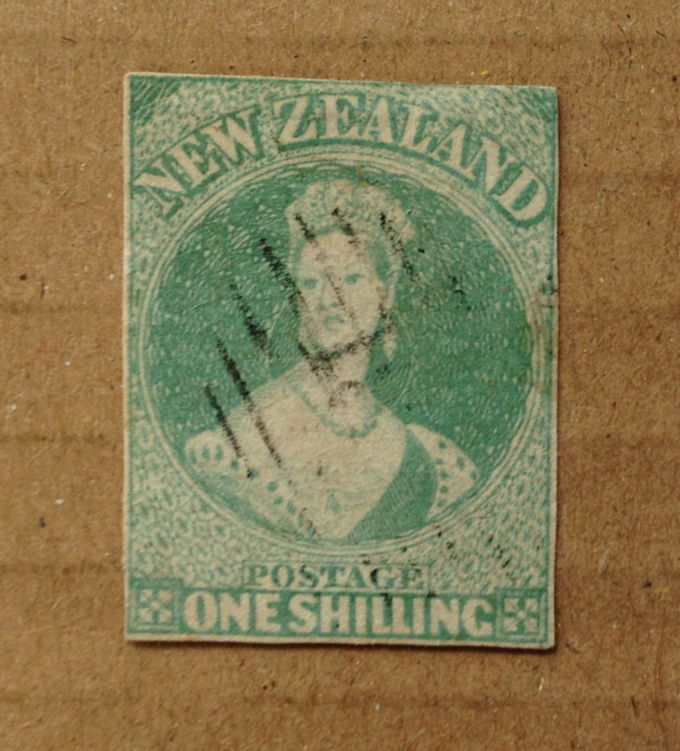 NEW ZEALAND 1855 Full Face Queen 1/- Dull Emerald-Green. White paper. No watermark. Three clear margins, cut along and slightly image 0