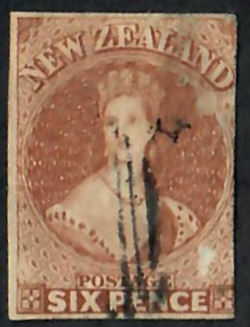 NEW ZEALAND 1855 Full Face Queen 6d Brown Imperf. 3 margins. No Watermark. Off face postmark. - 60065 - GU image 0