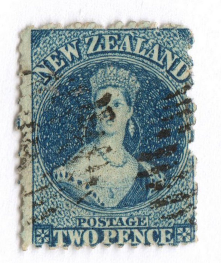 NEW ZEALAND 1862 Full Face Queen 2d Deep Blue. Plate 2. Perf 12½ at Auckland. - 39185 - Used image 0