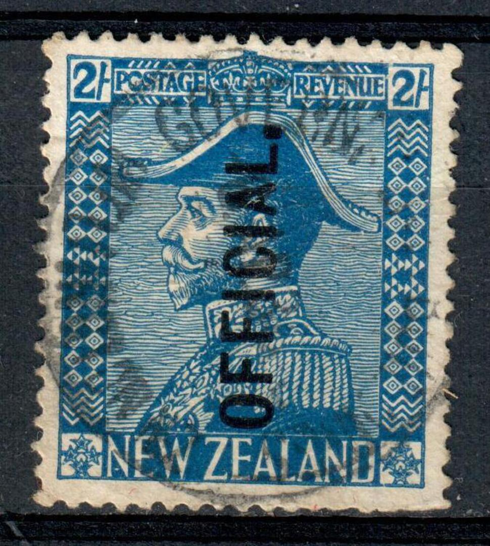 NEW ZEALAND 1926 Geo 5th Admiral Official 2/- Dark Blue. Full strike light postmark but the face is clear. - 75205 - FU image 0
