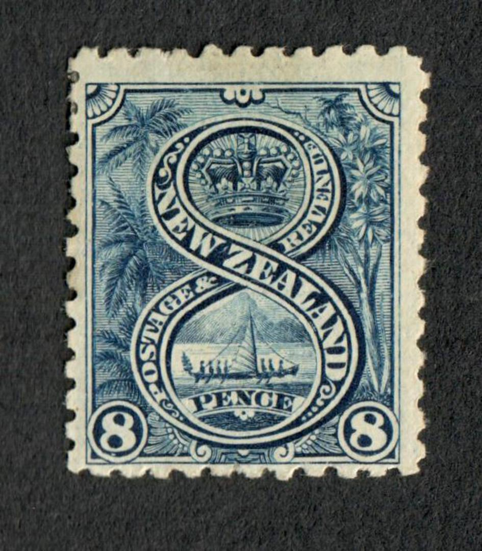 NEW ZEALAND 1898 Pictorial 8d Blue. First Local Issue on Unwatermarked Paper. Perf 11. CP E16b. - 74871 - Mint image 0