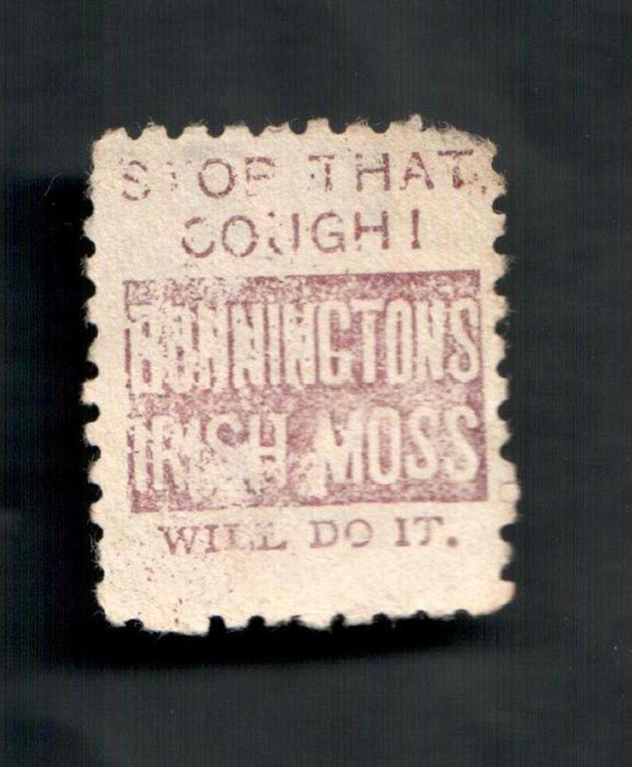 NEW ZEALAND 1882 Victoria 1st Second Sideface 2d Mauve. Perf 10. Secnd setting. Stop that Cough Bonnington's Irish Moss will do image 1