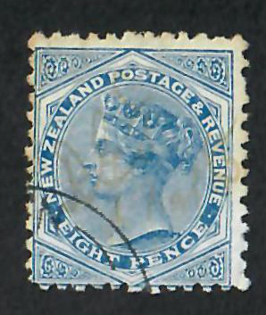 NEW ZEALAND 1882 Victoria 1st Second Sideface 8d Blue. Perf 12 x 11½.  Fine copy. - 74121 - CTO image 0