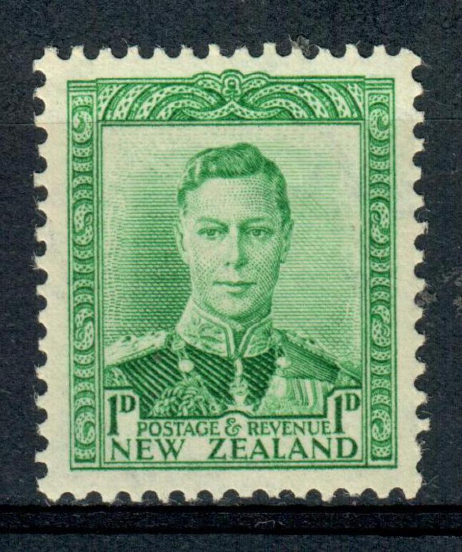 NEW ZEALAND 1938 Geo 6th Definitive 1d Green. First Fine Paper. - 4350 - UHM image 0