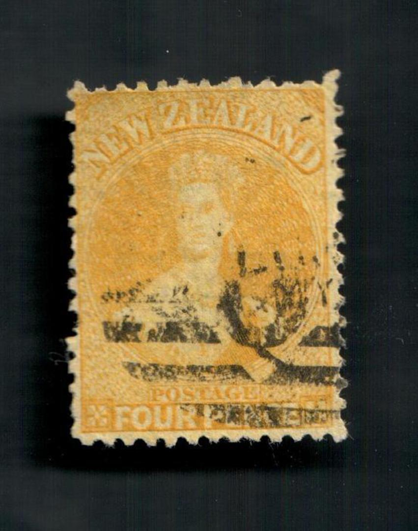 NEW ZEALAND 1862 Full Face Queen 4d Yellow. Perf 12½. Postmark O but off face. - 3534 - Used image 0
