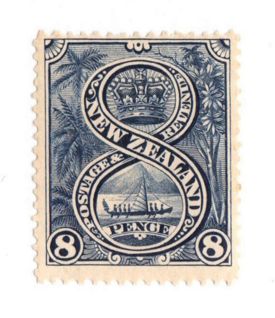 NEW ZEALAND 1898 Pictorial 8d Blue. London Print. - 74860 - UHM image 0
