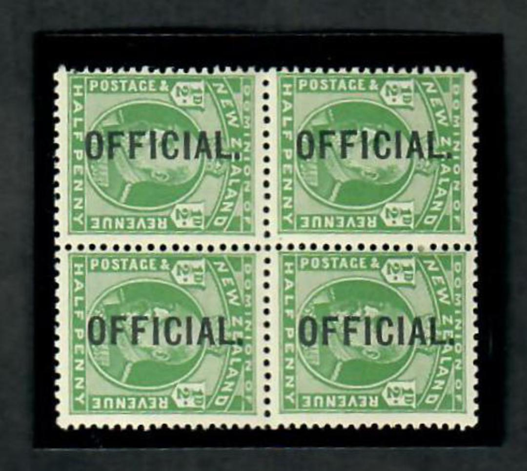 NEW ZEALAND 1909 Edward 7th Official ½d Green in block of four. Two VLHM and two UHM. - 20125 - Mixed image 0