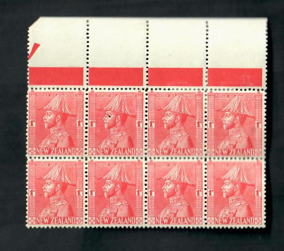 NEW ZEALAND 1926 1d Admiral. Block of 8. Only 5 stamps meet the criteria. - 20617 - UHM image 0