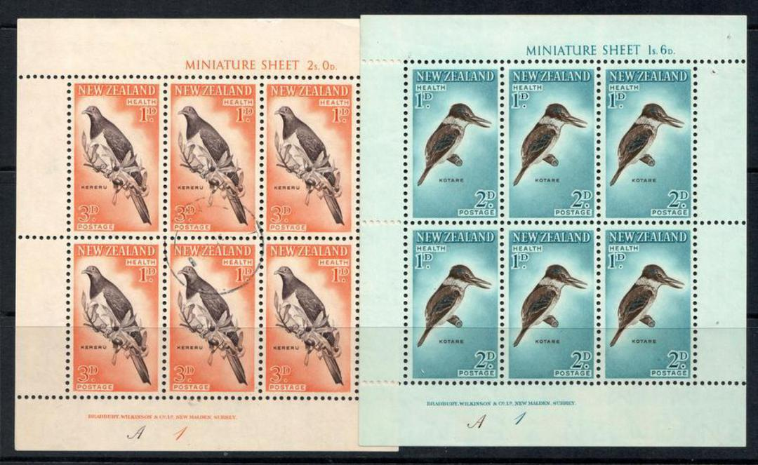 NEW ZEALAND 1960 Health miniature sheets featuring birds: Kotare, Kereru. - 12660 - UHM image 0