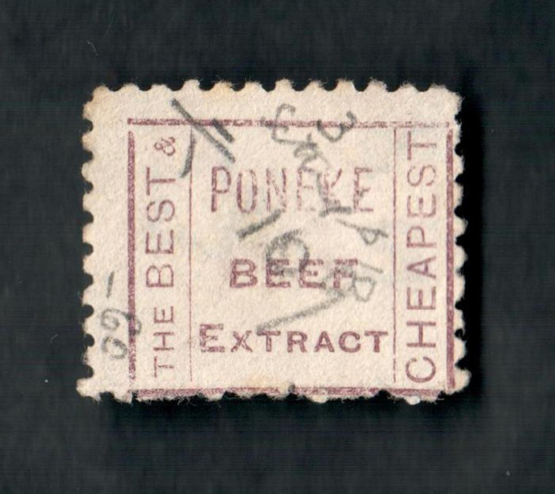 NEW ZEALAND 1882 Victoria 1st Second Sideface 8d Blue. Perf 10. 3rd setting in Brown-Purple. Poneke Beef Extract. - 4006 - FU image 1