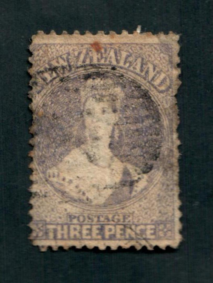 NEW ZEALAND 1862 Full Face Queen 3d Brown-Lilac. Watermark Large Star. Perf 13. Very nice copy with light postmark. But thinned. image 0