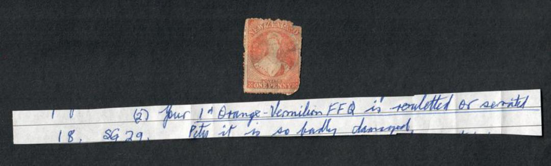 NEW ZEALAND 1855 Full Face Queen 1d Orange-Vermilion. Note by KenMcNaught that it is rouletted or serated. Very poor copy. - 575 image 0