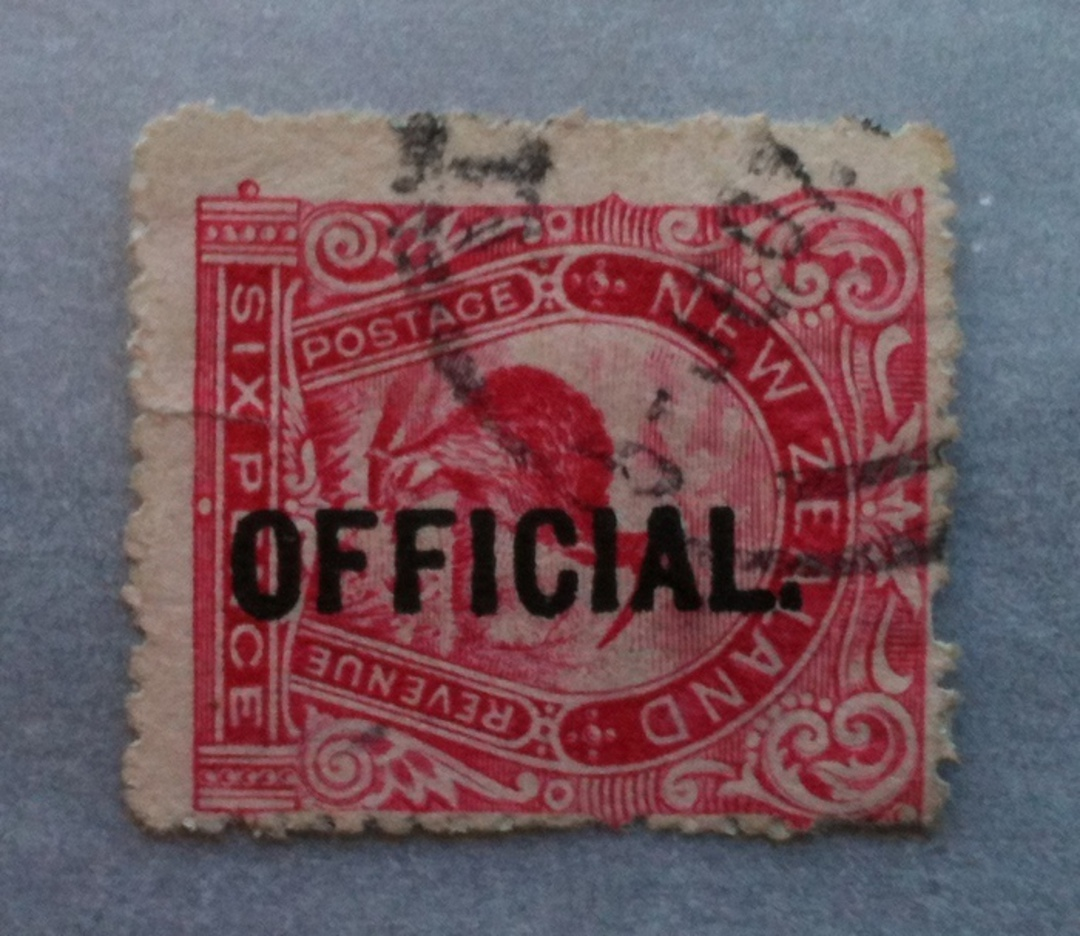 NEW ZEALAND 1898 Pictorial Official 6d Red Kiwi. - 10063 - FU image 0