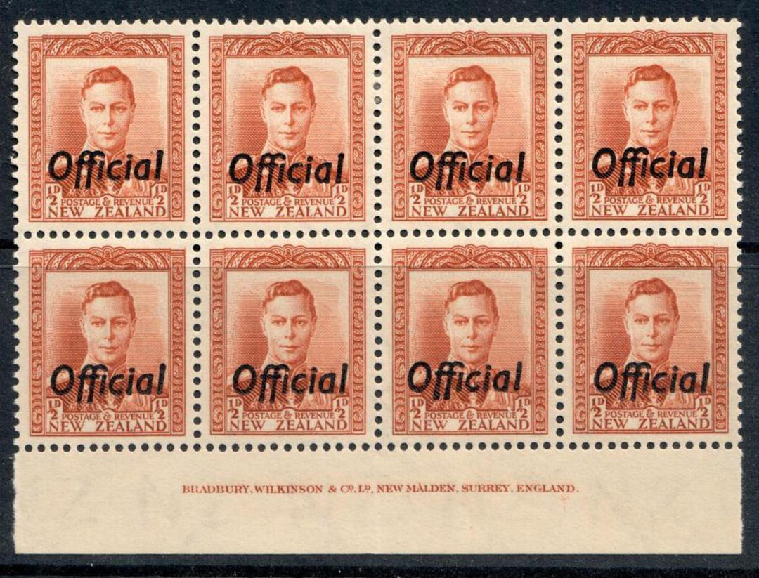 NEW ZEALAND 1938 Geo 6th Official ½d Chestnut. Imprint block of 6. - 50541 - UHM image 0