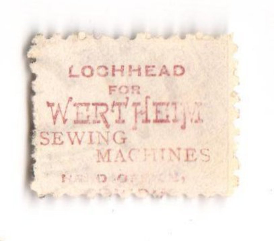 NEW ZEALAND 1882 Victoria 1st Second Sideface 2d Mauve. Perf 10. Secnd setting. Lochhead's Wertheim Sewing Machines are the best image 0
