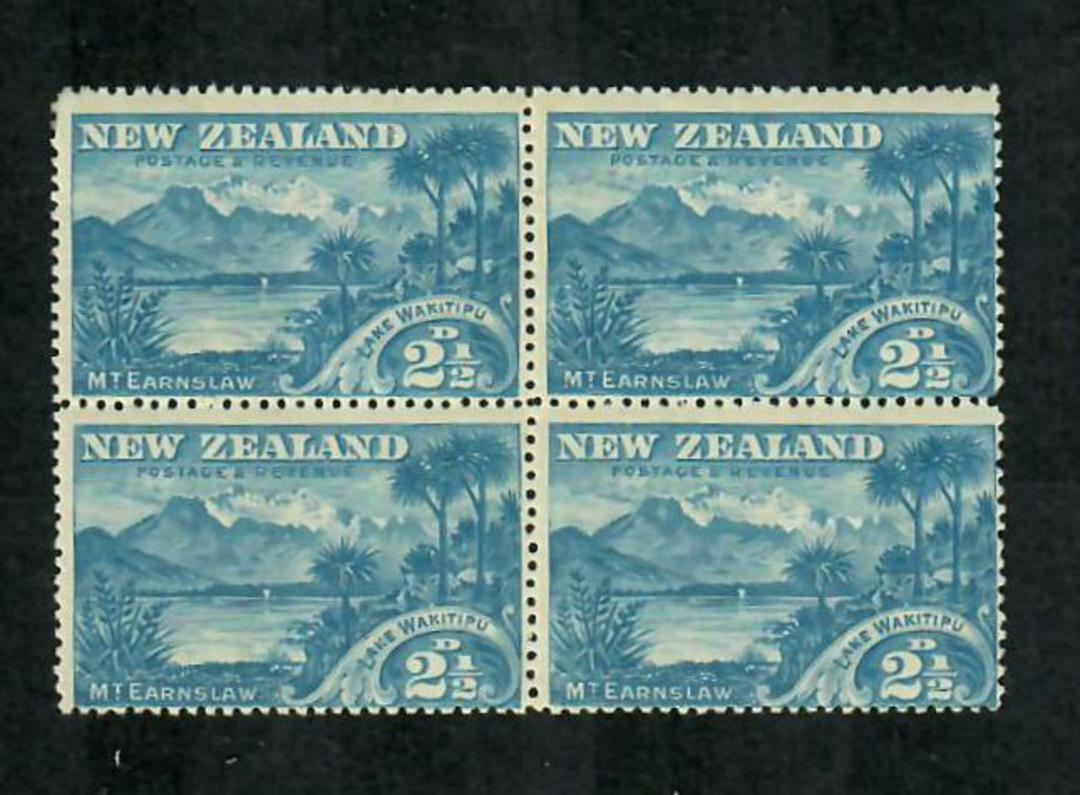 NEW ZEALAND 1898 Pictorial 2½d  Wakitipu. Block of 4. Two never hinged. - 74839 - UHM image 0