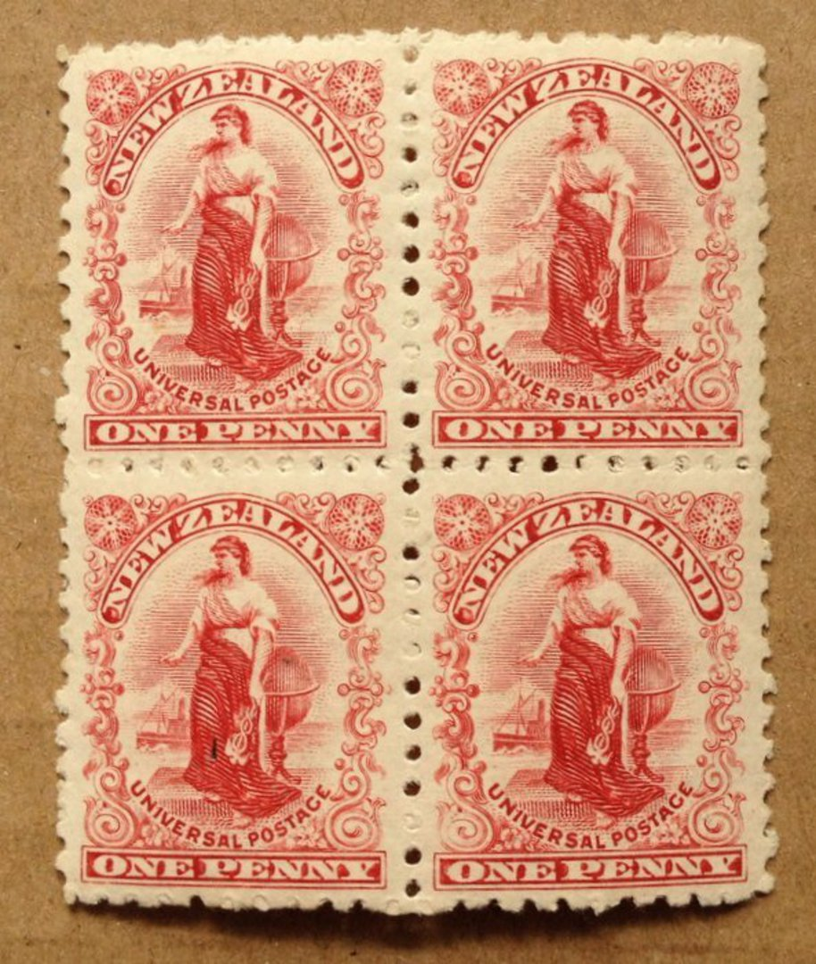 NEW ZEALAND 1901 1d Universal. Block of 4. Perf 11. - 75094 - UHM image 0