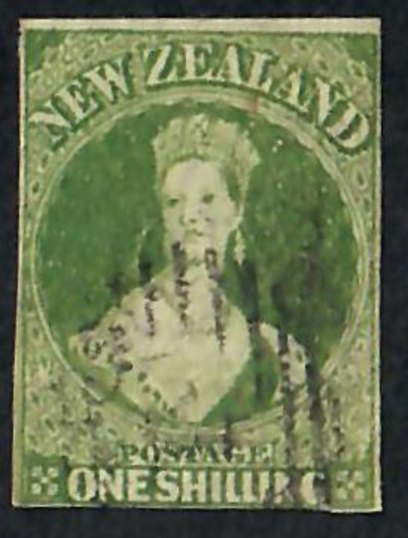 NEW ZEALAND 1855 Full Face Queen 1/- Green. Imperf. Almost 4 margins. Good rich colour. Light postmark. - 60077 - FU image 0