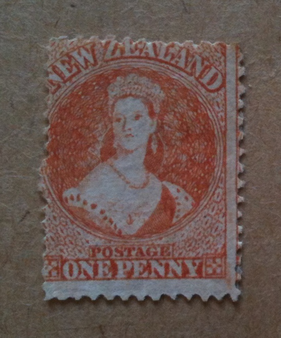 NEW ZEALAND 1862 Full Face Queen 1d Orange. The true orange Original aged gum but still a tidy reverse. Centered north west. Exc image 0