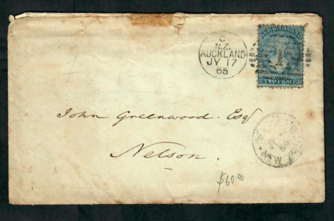 NEW ZEALAND 1865 Full Face Queen 2d Blue on cover from Auckland to Nelson. Full postmark from Auckland. Toniong around the edges image 0