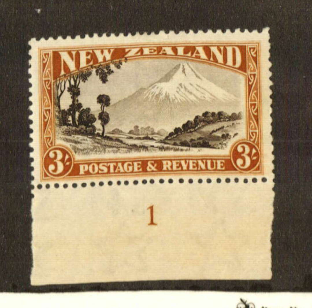 NEW ZEALAND 1935 Pictorial 3/- Black and Brown. Perf 14-13 x 13.5.  With Plate Number attached. Very lightly hinged. - 74686 - L image 0