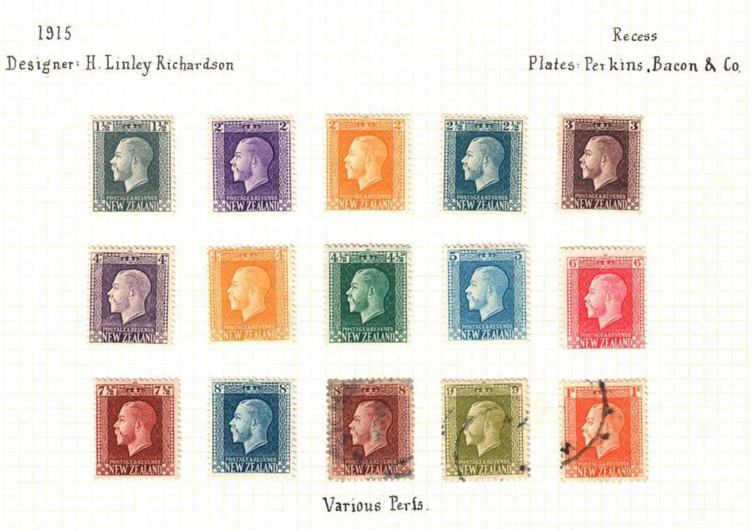 NEW ZEALAND 1915 Page of Geo 5th. All low value Definitives except the admirals. - 100964 - Mixed image 0