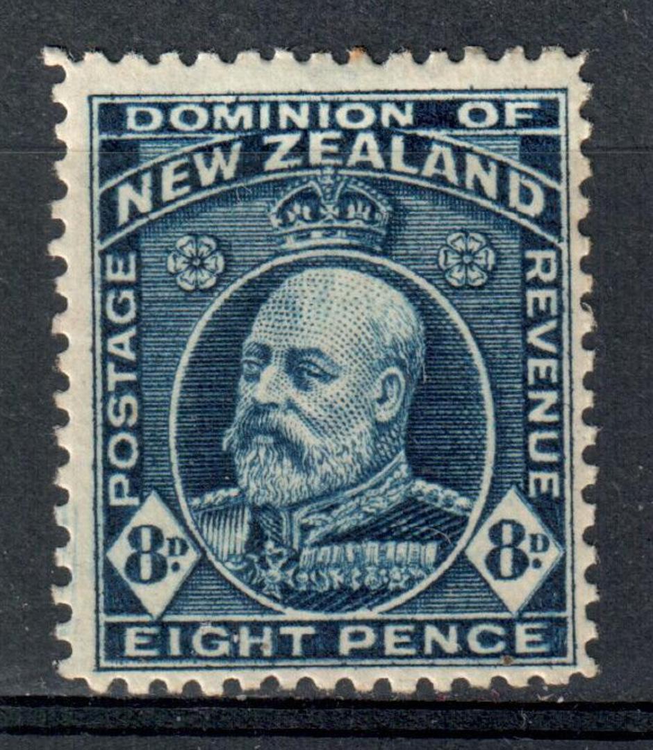 NEW ZEALAND 1909 Edward 7th Definitive 8d Blue. Comb perf 14 x 14½. Light hinge remains. - 75235 - Mint image 0