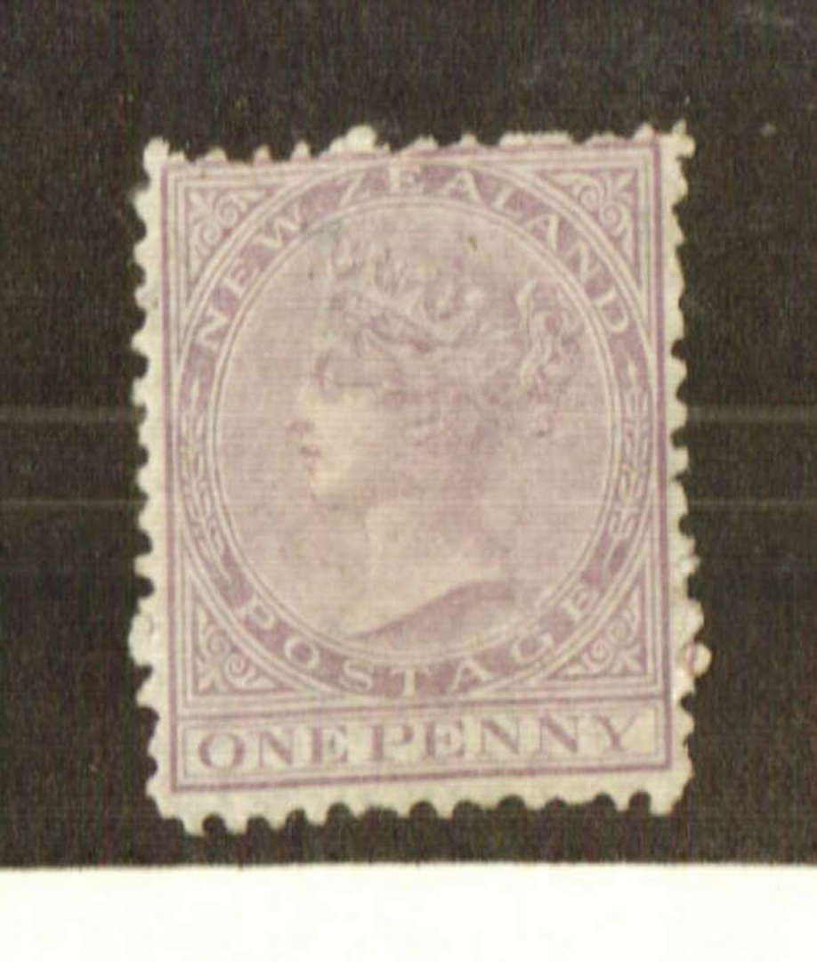 NEW ZEALAND 1874 Victoria 1st First Sideface 1d Lilac. White paper. Perf 12½. Excellent shade. Good perfs for the era. Crease on image 0