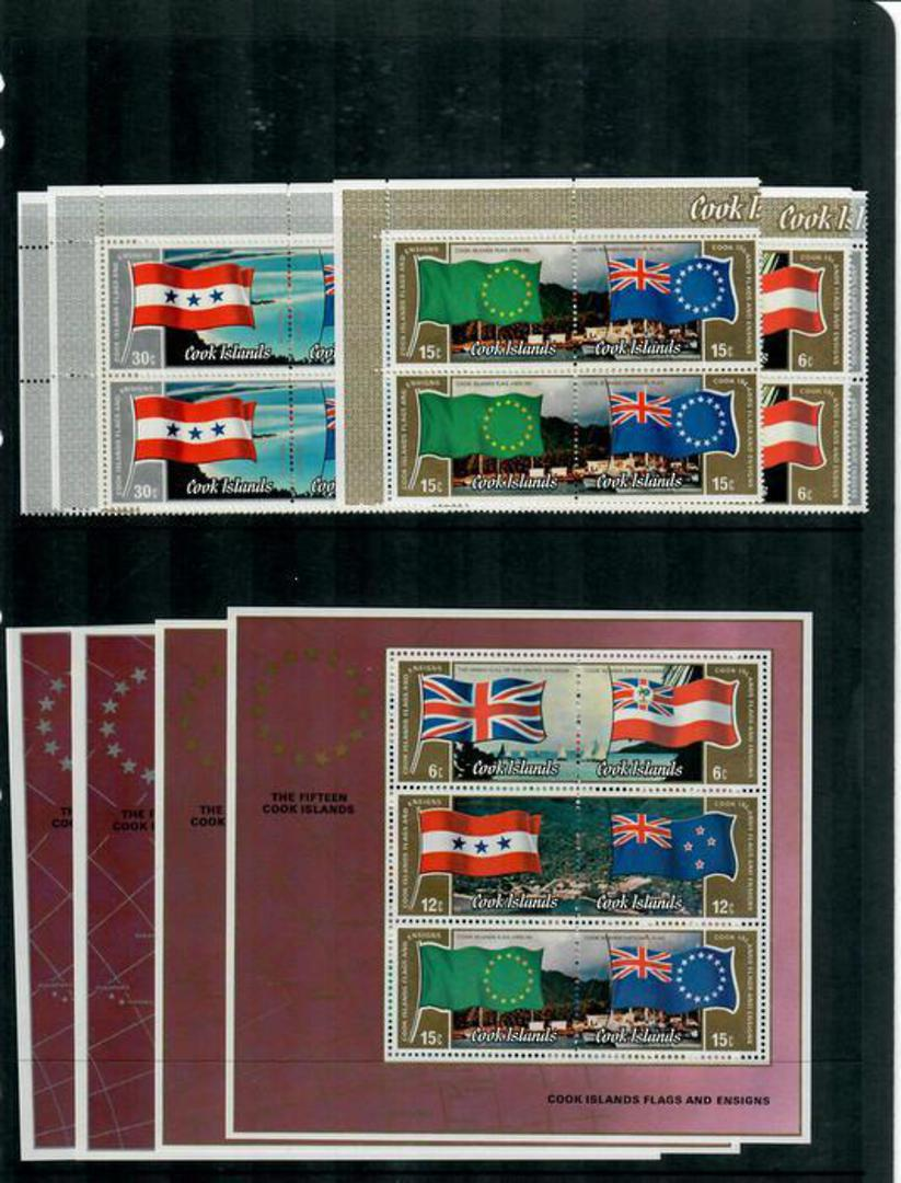 COOK ISLANDS 1983 Flags. Set of 12 in joined pairs and two miniature sheets. - 37965 - UHM image 0