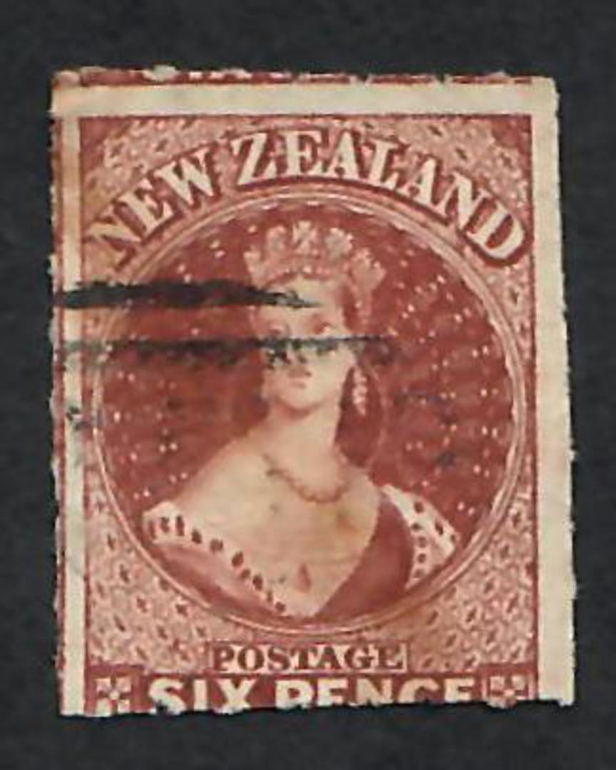 NEW ZEALAND 1862 Full Face Queen 6d Red-Brown.  Roulette 7 at Auckland with Royal Philatelic Society of NZ certificate. Scarce s image 0