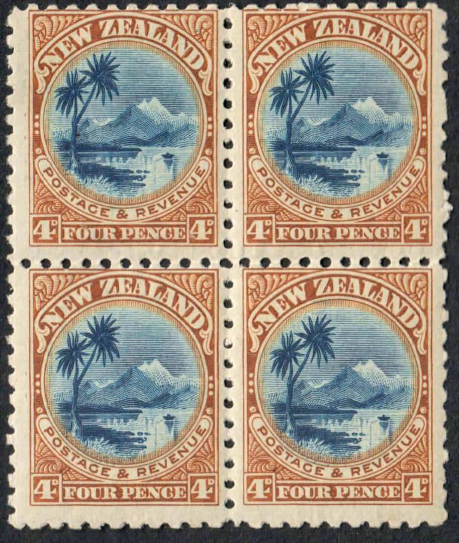 NEW ZEALAND 1898 Pictorial 4d Lake Taupo. Perf 11. Block of 4. Two hinged. - 52590 - Mixed image 0