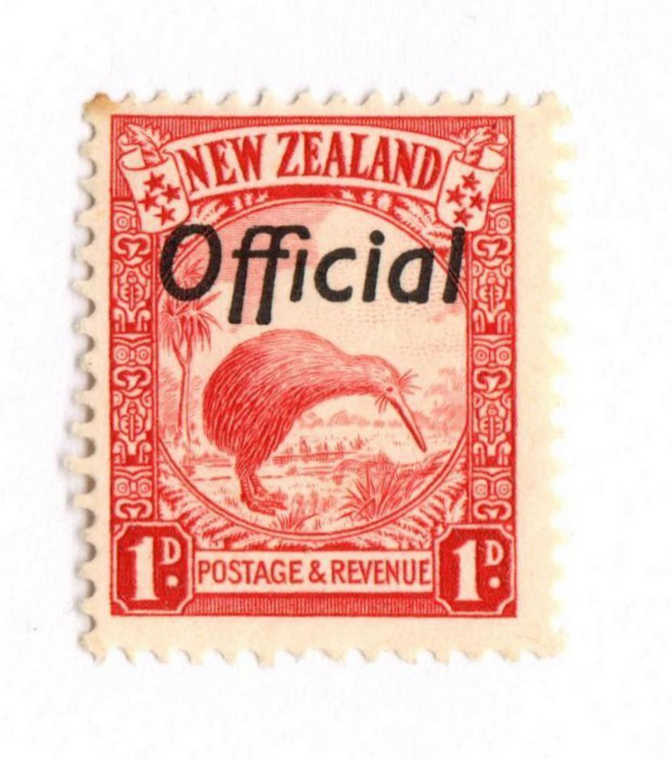 NEW ZEALAND 1935 Pictorial Official 1d Red. The rare Perf 13.5 x 14.. - 74055 - UHM image 0
