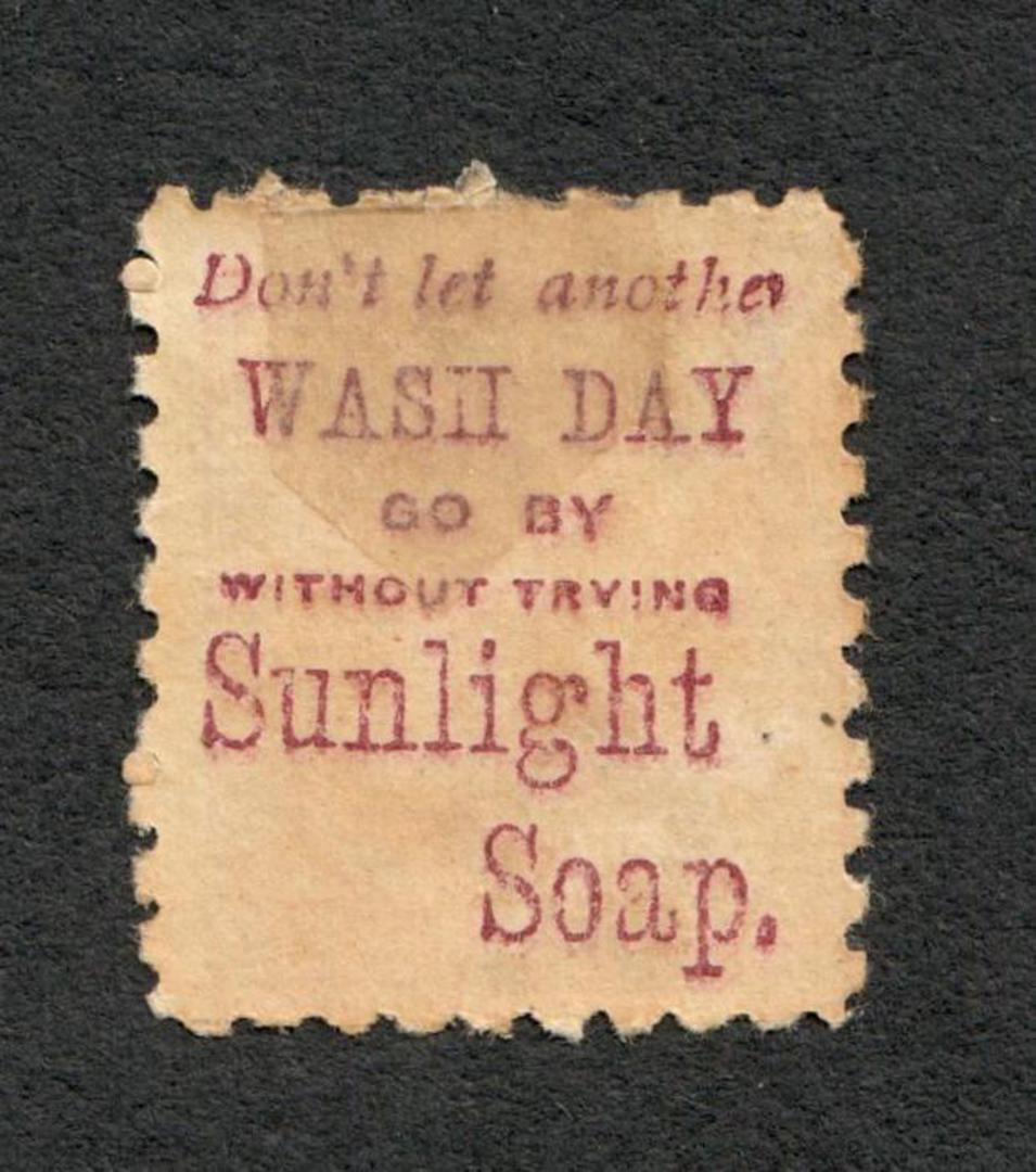 NEW ZEALAND 1882 Victoria 1st Second Sideface 1D Red. Don't Let another Wash Day go by without using Sunlight Soap. - 3968 - Min image 1