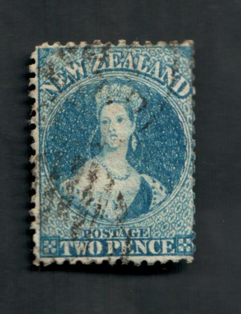 NEW ZEALAND 1862 Full Face Queen 2d Blue. Plate 2. Perf 12½ at Auckland. Slightly dull corner. - 39187 - Used image 0