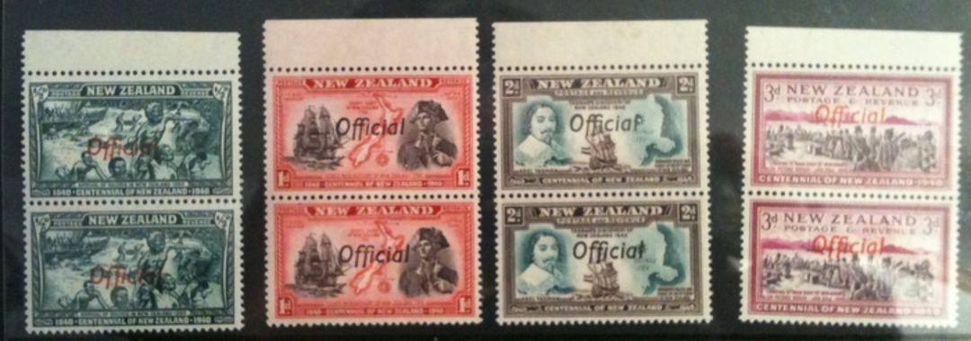 NEW ZEALAND 1940 Centennial Official ½d 1d 2d 3d 4d 6d 8d 2½d in pairs with Joined ffs. All never hinged except the 2½d. The 4d image 0