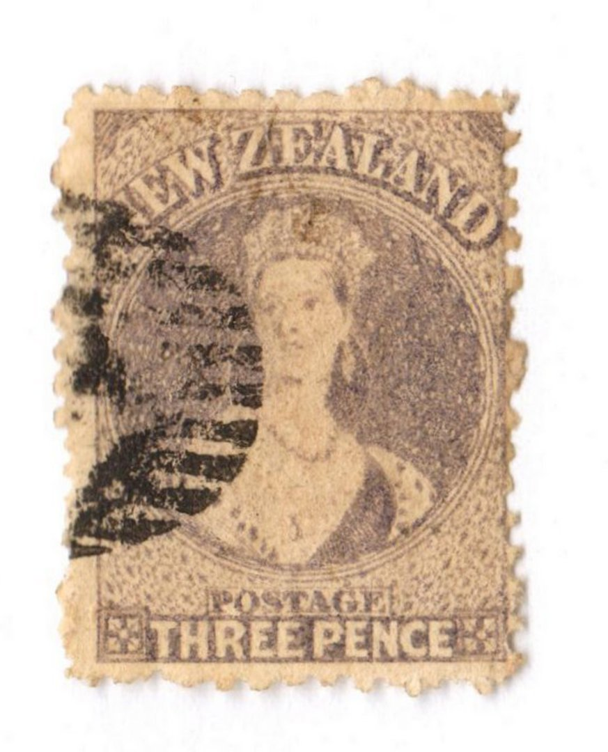 NEW ZEALAND 1862 Full Face Queen 3d Lilac. Perf 12½. Postmark off face. - 3569 - Used image 0