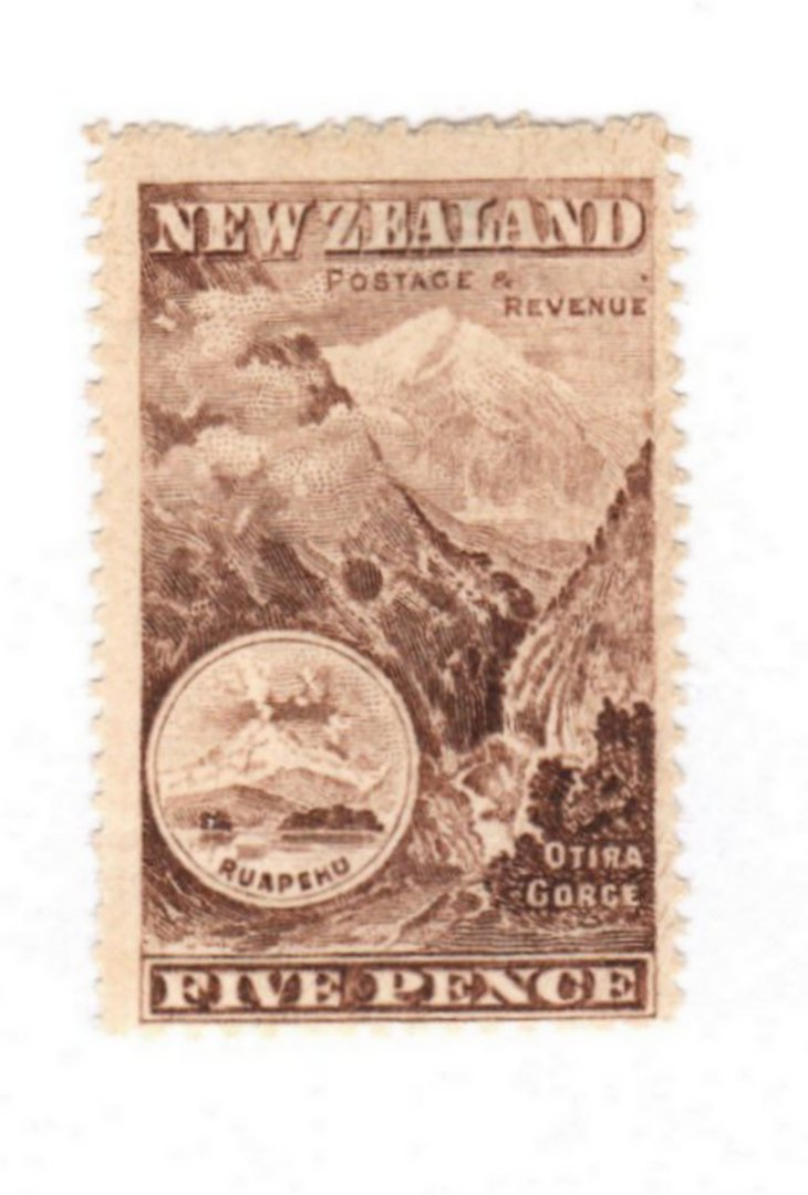 NEW ZEALAND 1898 Pictorial 5d Red-Chocolate. London Print. No Watermark. - 71294 - UHM image 0