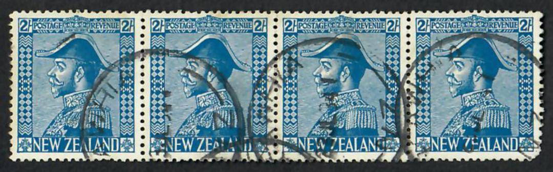 NEW ZEALAND 1926 Geo 5th Admiral 2/- Blue. Excellent strip of 4 with one dull corner. Genuine usage. Priced as 3. - 21863 - FU image 0