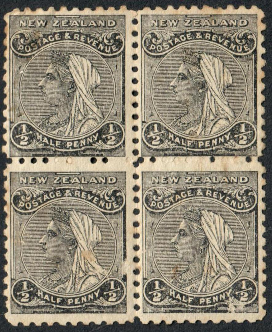 NEW ZEALAND 1882 Victoria 1st Definitive ½d Black. Block of 4. Nice multiple. - 54305 - MNG image 0