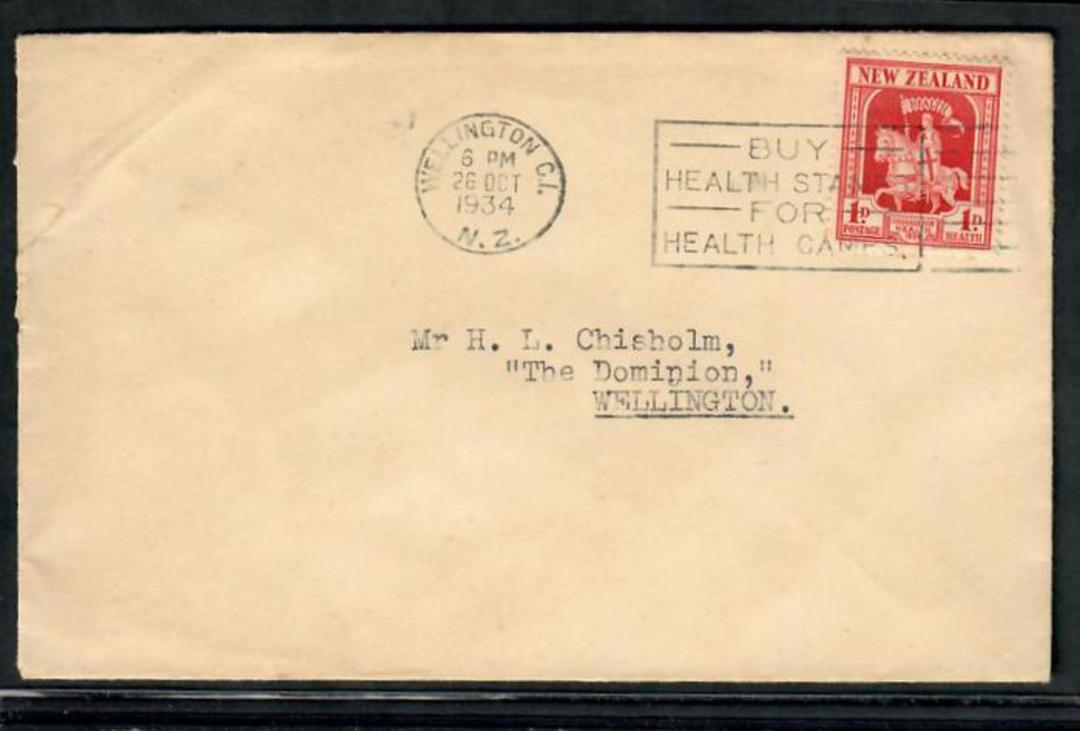 NEW ZEALAND 1934 Health on cover. Postmark 26/10/34. Wellington slogan cancel - 20128 - PostalHist image 0