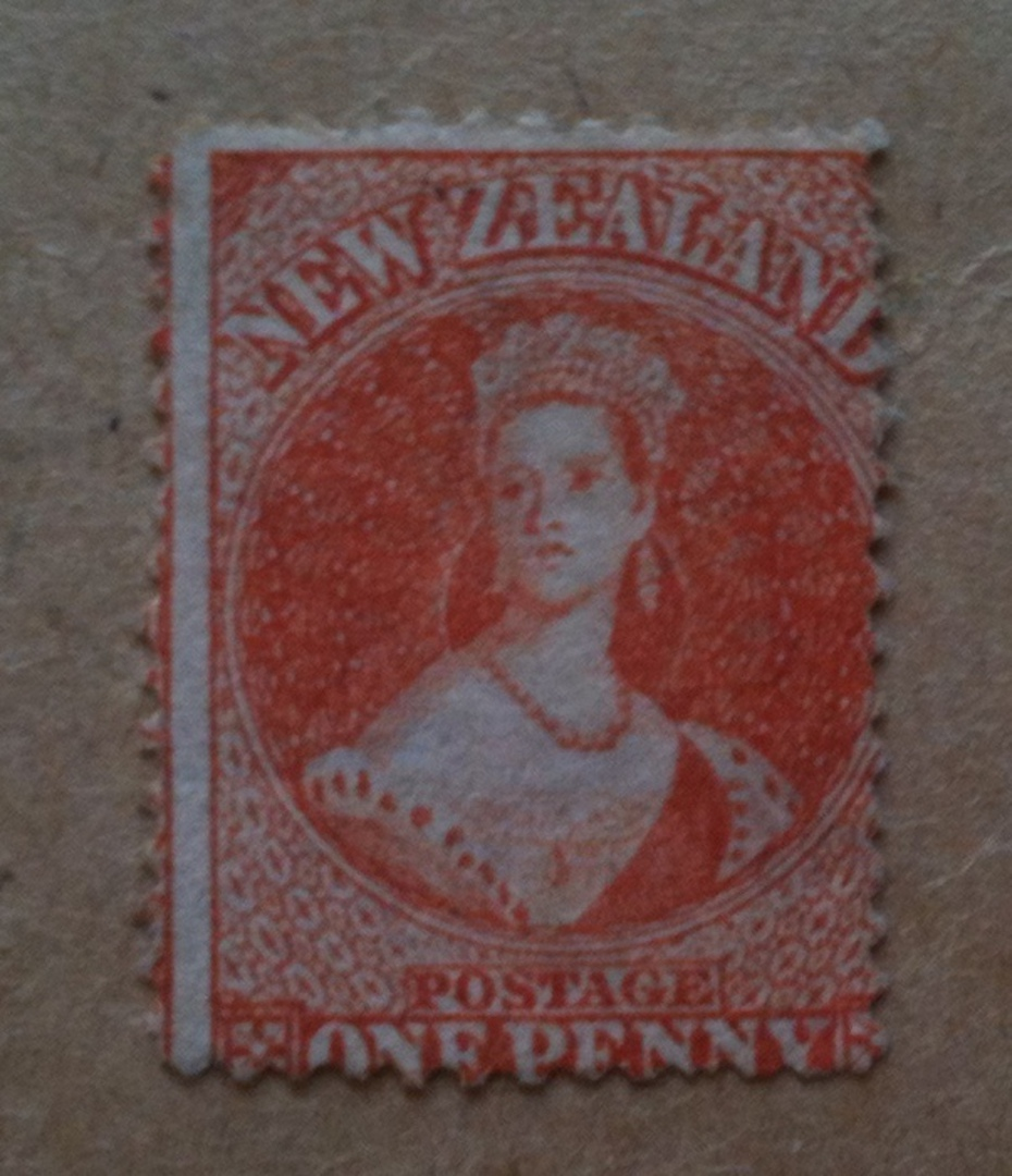 NEW ZEALAND 1862 Full Face Queen 1d Orange. Large Star Watermark. Bright shade. CP A1m(5) $1000.00. - 70465 - Mint image 0