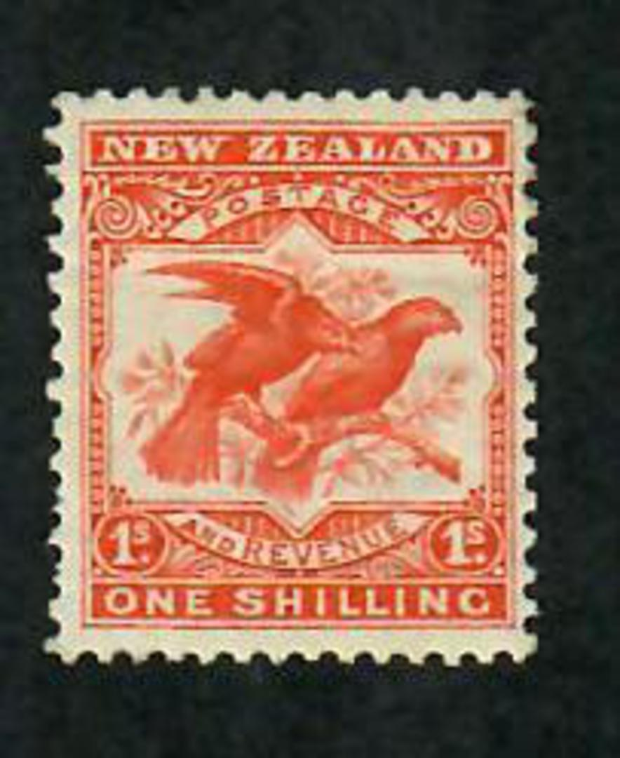 NEW ZEALAND 1898 Pictorial 1/- Redrawn Orange-Red. Perf 14x15. - 79735 - LHM image 0