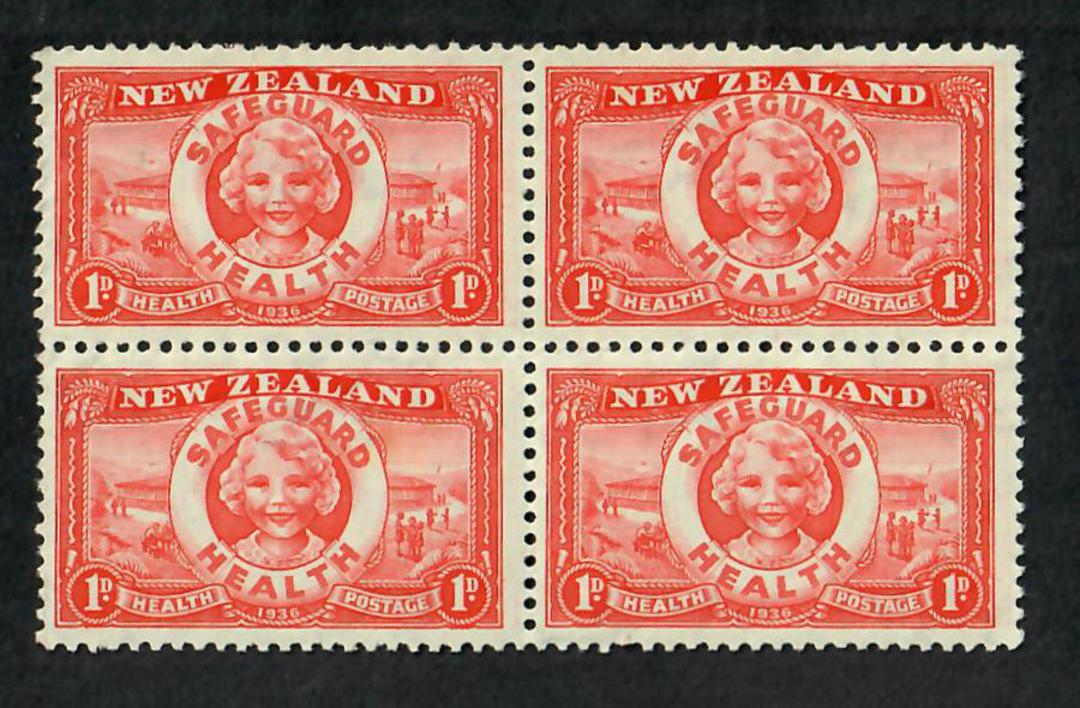 NEW ZEALAND 1936 Health Lifebuoy. Block of 4. Top two stamps very lightly hinged. - 21809 - Mixed image 0