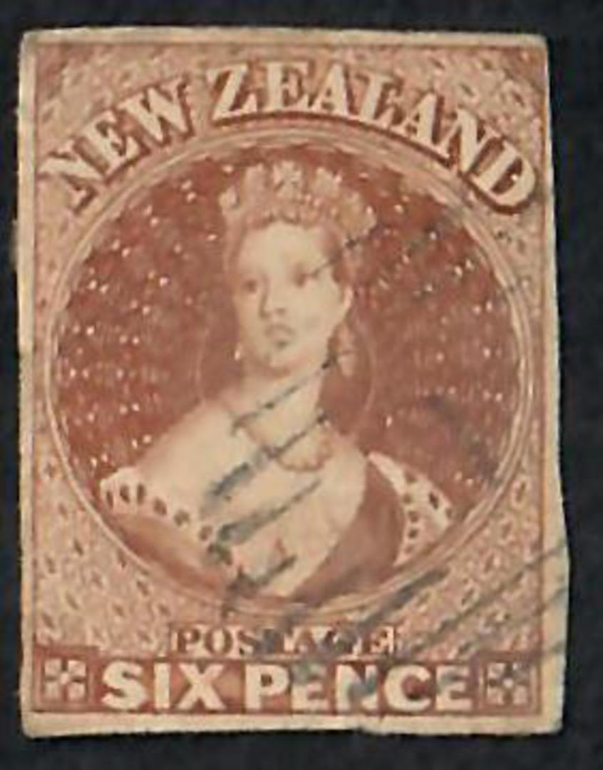 NEW ZEALAND 1855 Full Face Queen 6d Brown Imperf. 4 margins. No Watermark. Very light postmark. - 60064 - FU image 0